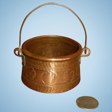 Antique French Miniature Copper Cauldron for Doll Scene