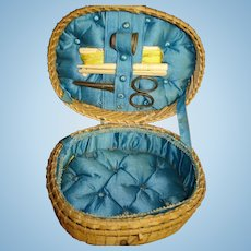 Antique Sewing Basket for Your Bebe or Larger Doll