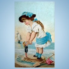 Antique FF French Doll Trade Card The Swimming Lesson