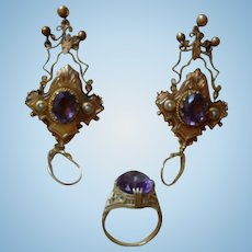 Gorgeous Victorian Etruscan Revival Earrings and Ring!