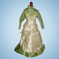 Antique Celadon Silk Gown for Your Doll