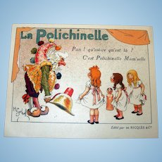 French Polichinelle Trade Card w/Little Girls