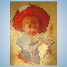 Free Shipping! Polichinelle & LIttle Girl Trade Card