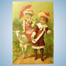 FREE Shipping!  Darling French Trade Card w/Pet Goat!