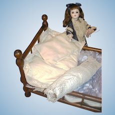 Antique French Doll Bed w/Original Bedding