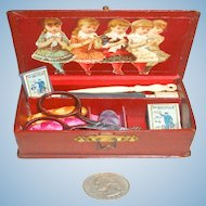 FRENCH Child's/Doll's Sewing Box Fully Loaded