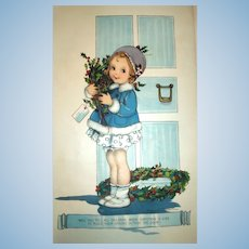 100-Year-Old Litho for Framing - Little Girl & Holly