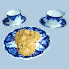 """Antique Flow Blue """"Tea for Two"""" Set w/Cookie Plate"""