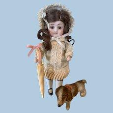 Antique BONE French Needle Case as Doll Parasol