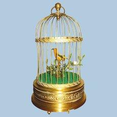 Karl Griesbaum Singing Bird Automaton in Brass Cage