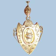 Etruscan Revival Gold Locket Pendant