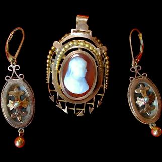 Etruscan Locket/Brooch with Earrings