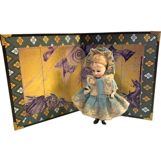 Miniature Japanese Folding Screen for Doll Display