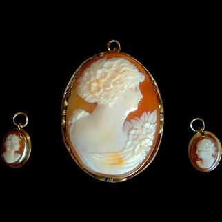Beautiful Victorian Cameo Pendant/Brooch & Earrings Set