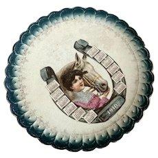 Antique 1910 Calendar Plate Blue Scalloped Edge Woman Portrait Edwardian Bodice Lace Collar Horse Horseshoe