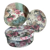Bella Bordello Pair Vintage Clear Plastic Floral Pink Rose Wallpaper Hat Storage boxes Shabby Chic