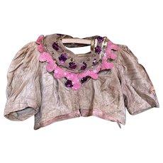 Bella Bordello Antique Girls French Theater Costume Top Dusty Pink Velvet Gelatin Sequin Collar Original Label