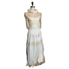 Bella Bordello Vintage 1940-50s LACE Summer Wedding Dress Romantic Shabby Chic Ivory Tulle Skirt