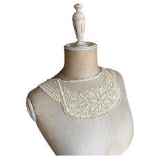 Bella Bordello Antique Ecru Lace Collar Embroidered Floral