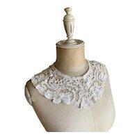 Bella Bordello Antique Battenburg Tape Lace Collar Romantic White