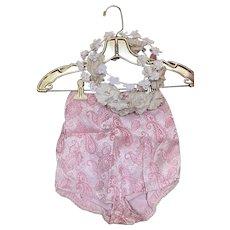 Bella Bordello Vintage Pink Shimmer Metallic Paisley Costume Shorts Tap Pants High Waist Showgirl Burlesque