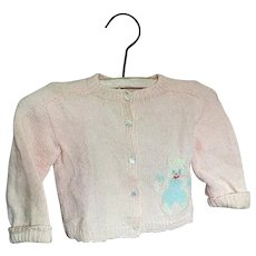 Bella Bordello ADORABLE Vintage Fuzzy Pink Toddler Sweater MOP Pearlized Duck Buttons