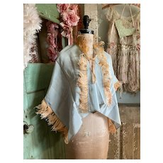 Bella Bordello Vintage Boudoir Bed Jacket Pale Blue Peach Curled Ostrich Feathers