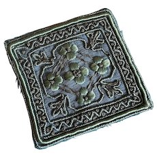 Bella Bordello Antique Appliqué Trim Teal Green Embroidered Square Metallic Passementerie