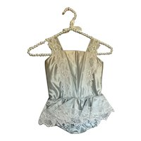 Bella Bordello Vintage Young Girls Shabby Chic Blue Satin Ballet Tutu Costume Floral Lace