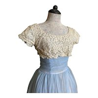 Bella Bordello Vintage Shabby Chic Pale Blue Prom Dress Ruched Waist Ivory Floral Lace Top Romantic