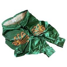 Bella Bordello Vintage 1947 Green Satin Theater Costume Pants Unusual Crewel Embroidered Star Moon Fire Applique