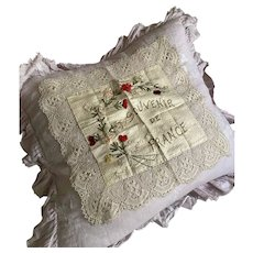Antique French Silk Ribbonwork Flowers Pillow Cover Bedfordshire Bobbin Lace