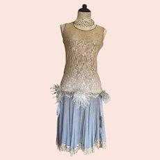 Antique Flapper Edwardian Dusty Blue Crepe Silk Lace Bodice Dress Ostrich Feather TRim