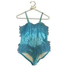 Vintage Girls Blue Dance Costume Satin Tulle Lace Sequin Trim