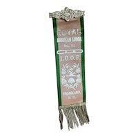 Bella Bordello Antique Silk Ribbon Pin Badge Bullion Trim Pink Green Royal Rebekah Lodge