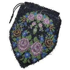 Antique Glass Beaded Drawstring Handbag Purse Edwardian Black Mauve Pink Lilac Brown Rises Wreath