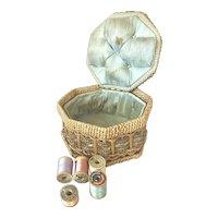 Bella Bordello Antique German Sewing Basket Woven Wicker Pale Blue Tufted Silk