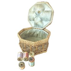 Bella Bordello Antique German Sewing Basket Woven Wicker Pale Blue Tufted Silk