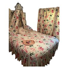 INCREDIBLE 5pc Vintage Bedroom Set Shabby Chic Pink Roses Ruffled Coverlet 4 Curtains Bed Canopy Drapes