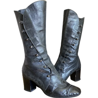 Antique Black Leather Button Up Boots By Cecil