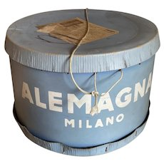 HUGE Vintage Cake Hat Box Shabby Chic Fades Blue Italian Alemagna Milano