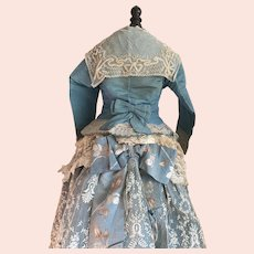 Museum Piece Antique c1860-80 Over The Top Girls Blue Silk Lace Bustle Dress Gown Bodice Skirt Ribbon Bow Detail
