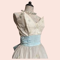 Vintage Pale Blue Petite Flower Embroidered Prim Dress Strapless Large Ribbon Bow
