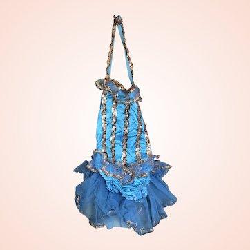 Bella Bordello Vintage Girls Ballet Costume Tutu Blue Satin Gold Sequins Tulle Lace