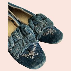 Rare Color Antique Blue Velvet Shoes Steel Cut Beads Bows