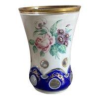 Bella Bordello Antique German Bohemian Cut Glass Cup Cobalt Blue Gold Hand Painted Roses