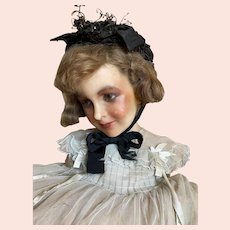 Bella Bordello Antique Victorian Childs Or Doll Black Bonnet Lace Silk Ribbon Bow Sequins