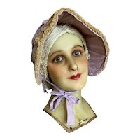 UNUSUAL Vintage Lavender Prairie Bonnet Loofah Brim Shabby Chic