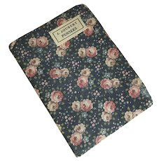 Bella Bordello Antique French Pocket Book Fabric Cover Black Pink Roses