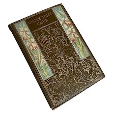Bella Bordello Antique Book Shabby Chic Display Uncle Toms Cabin Brown Floral Gilt Gold
